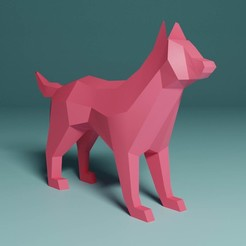 LowpolyDog.jpg Download free STL file WOLF DOG with 3D file • 3D printing object, KernelDesign