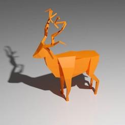 Cerf.jpg Télécharger fichier STL gratuit Cerf Lowpoly • Design imprimable en 3D, KernelDesign