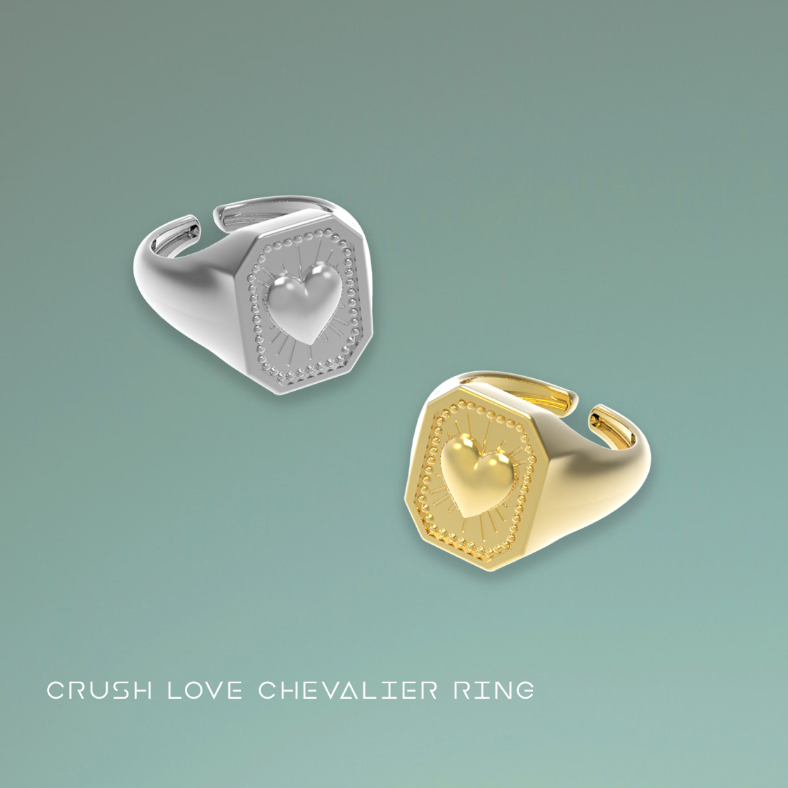 render_1.jpg Download free STL file CRUSH LOVE CHEVALIER RING • 3D printable object, Genny