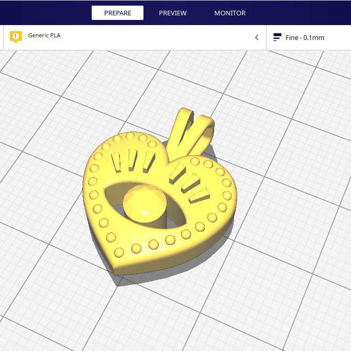 render_6.jpg Download free STL file EVIL EYE PENDANT NECKLACE • 3D print object, Genny