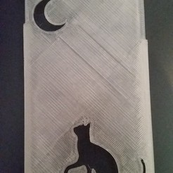 Download STL file Iphone 6 cat looking moon cover • 3D printer object, Arge89