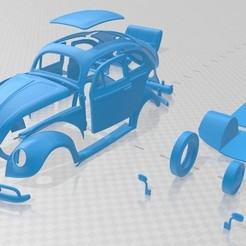 Download 3D print files Volkswagen Beetle Herbie Printable Car, hora80