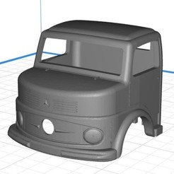 Download 3D printer templates Body Cab Truck Mercedes 1113 - Printable 3D Kipper, hora80