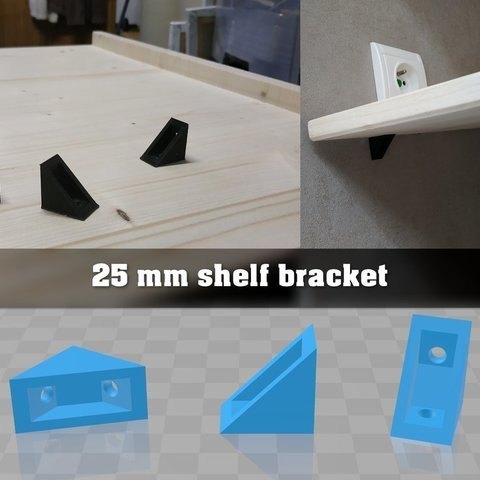 Download free 3D printer designs 25mm shelf bracket ・ Cults
