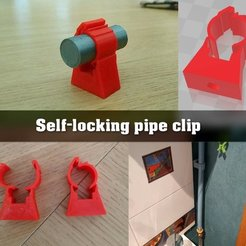 Download free 3D printer files self-locking wall clip for 16mm pipe, Julien_DaCosta