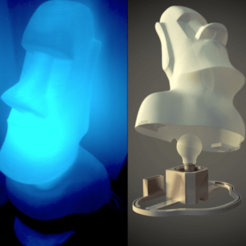 Download free STL files Moai no overhang with RGB LED LightBulb support, Julien_DaCosta