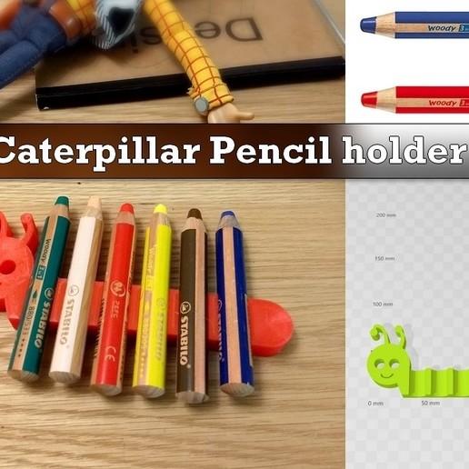 PencilHolder.jpg Download free STL file Caterpilar Pencil Holder • Model to 3D print, Julien_DaCosta
