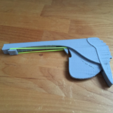 Free 3D printer model One peace rubber gun with trigger for loom bands, squiqui