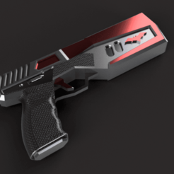 REDHOODGUN v8.png Download STL file RED HOOD GUN (pistol)  • 3D printing design, jediSam