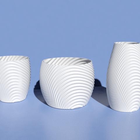 Imprimir en 3D gratis Tazón orgánico ondulado, tazas, florero y florero., Pratrik