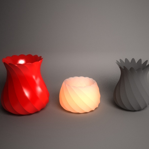 Download free STL files Twisted vases and tealight holder, Pratrik