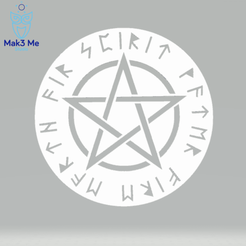 1.png Download STL file Pentacle Medallion - New futhark - spirit, earth, water, air, fire - stl, obj • 3D printable template, Mak3_Me_Studio