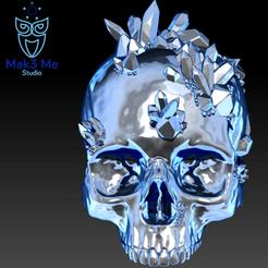 1.png Download STL file Human skull with crystals - Human skull with crystals, ABC, FBX, MTL, OBJ, STL • 3D print model, Mak3_Me_Studio