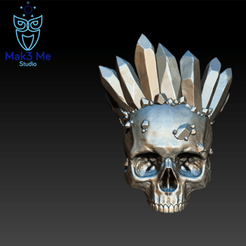 1.png Download STL file Skull with crown of crystals, abc, fbx, obj, stl • 3D printable object, Mak3_Me_Studio