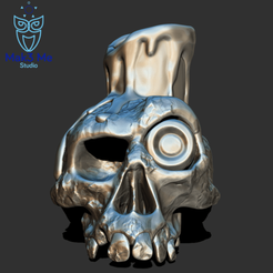 1.png Download STL file Skull candlestick - candlestick skull, ABC, FBX, OBJ, STL • 3D printable template, Mak3_Me_Studio