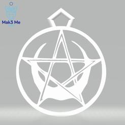 1.png Télécharger fichier STL Fichier : Le Pendentif Pentacle Lune deux versions - stl, obj, svg • Design pour impression 3D, Mak3_Me_Studio