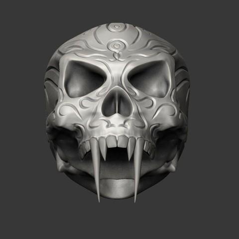 1SKULLA.jpg Download free STL file Tribal Sabre Tooth Skull • Model to 3D print, Taran3D