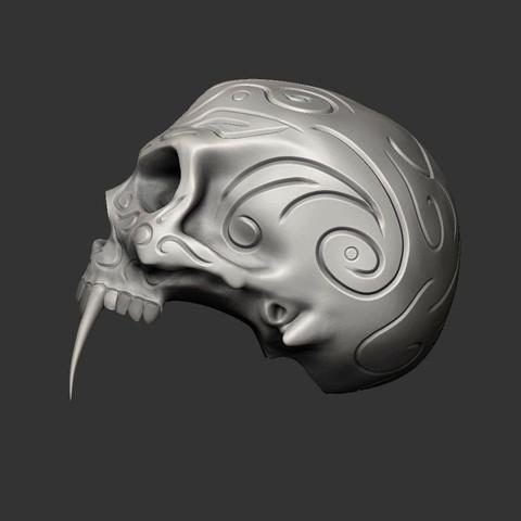 1SKULLB.jpg Download free STL file Tribal Sabre Tooth Skull • Model to 3D print, Taran3D