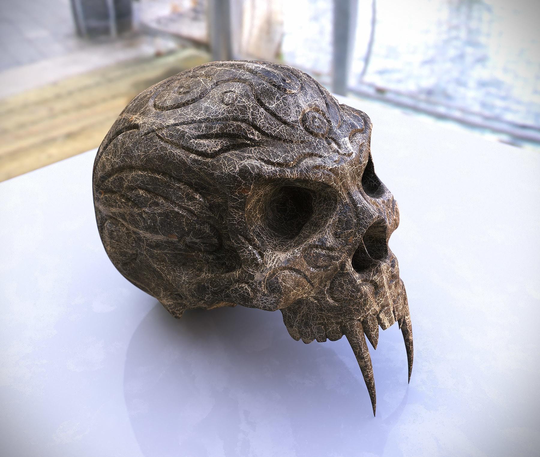 SkullRenderFinal.jpg Download free STL file Tribal Sabre Tooth Skull • Model to 3D print, Taran3D