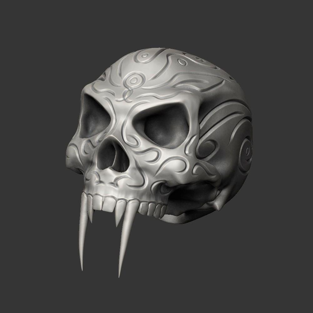1SKULLC.jpg Download free STL file Tribal Sabre Tooth Skull • Model to 3D print, Taran3D