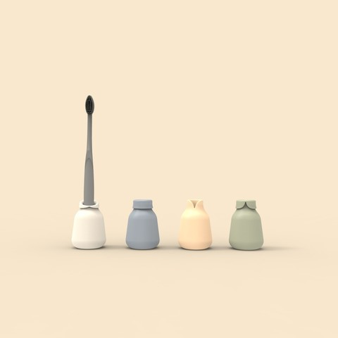 Free STL file Family customisable toothbrush holder, clemgerm