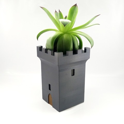 Free 3D printer designs Medieval tower planter with courtyard, CogwheelWorkshop