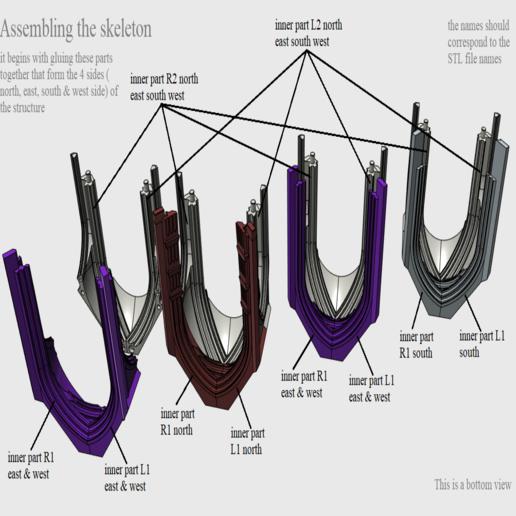 03 Assembling the skeleton.png Télécharger fichier STL Cathédrale des oiseaux • Objet imprimable en 3D, Job