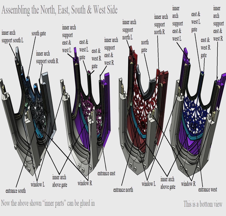 04 Assembling the North, East, South, West Side.png Télécharger fichier STL Cathédrale des oiseaux • Objet imprimable en 3D, Job