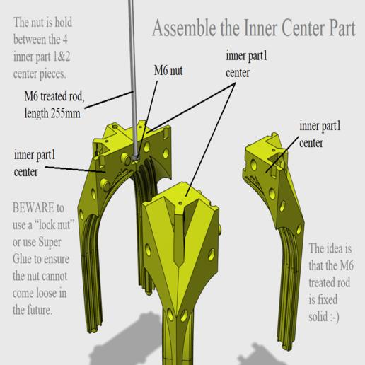 01 Assemble the Inner Center Part.png Télécharger fichier STL Cathédrale des oiseaux • Objet imprimable en 3D, Job