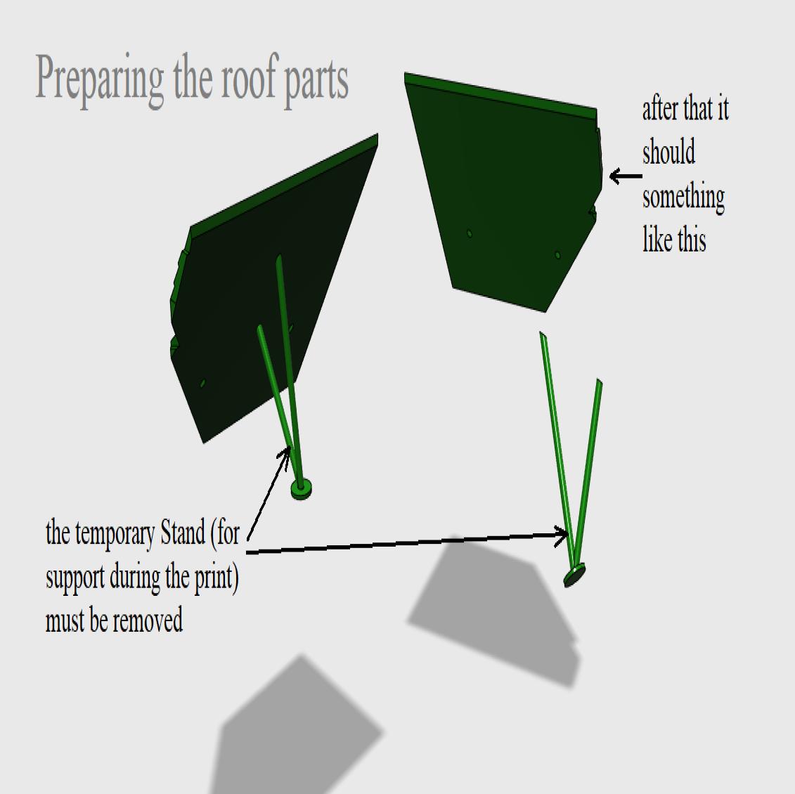 08 Preparing the roof parts.png Télécharger fichier STL Cathédrale des oiseaux • Objet imprimable en 3D, Job