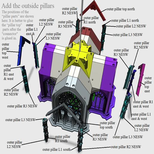 07 Add the outside pillars.png Télécharger fichier STL Cathédrale des oiseaux • Objet imprimable en 3D, Job
