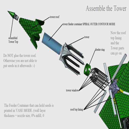 11 Assemble the Tower.png Télécharger fichier STL Cathédrale des oiseaux • Objet imprimable en 3D, Job