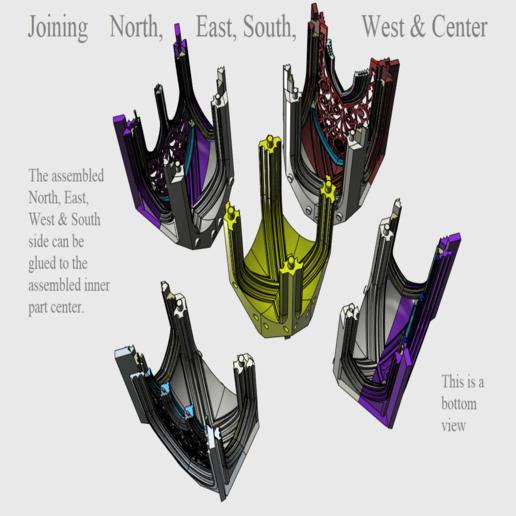 05 Joining north east south west and center.png Télécharger fichier STL Cathédrale des oiseaux • Objet imprimable en 3D, Job