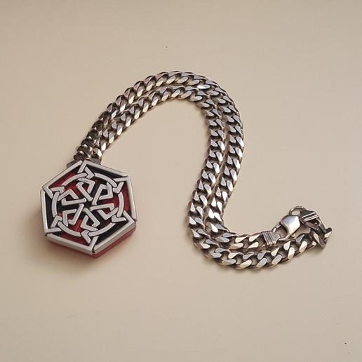 medallion on a chain.jpg Download free STL file Secret geometry medallion • 3D printable model, Job