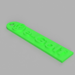 Free 3D printer designs Volkswagen e-Golf Keychain, TK3D