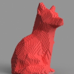 Free STL files Voxel Fox, TK3D