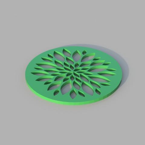 Free STL Floral Coaster, TK3D