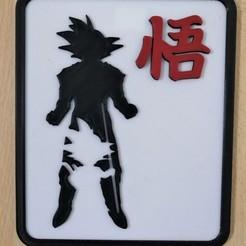 Goku et Son 2.jpg Télécharger fichier STL Plaque murale DBZ - Goku & Son Goku • Objet pour imprimante 3D, SerpikoDesign