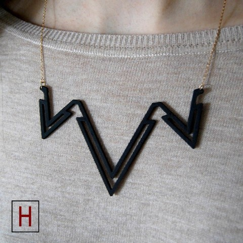 3D printer files Necklace - Double letter V, HorizonLab