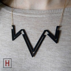 3d printer files Necklace - Double letter V, HorizonLab
