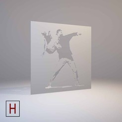 3d print files Banksy - Stencil - Flower thrower, HorizonLab