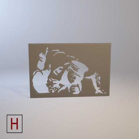 Cults - Banksy - Sniffing cop 2 logo.jpg Download STL file Stencil - Banksy - Sniffing cop • 3D print template, Made_In_Space