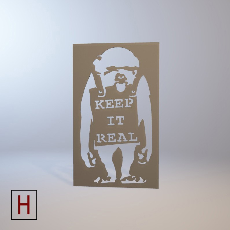 Cults - Banksy - Keep it real logo.jpg Download STL file Stencil - Banksy - Keep it real • 3D print template, InSpace