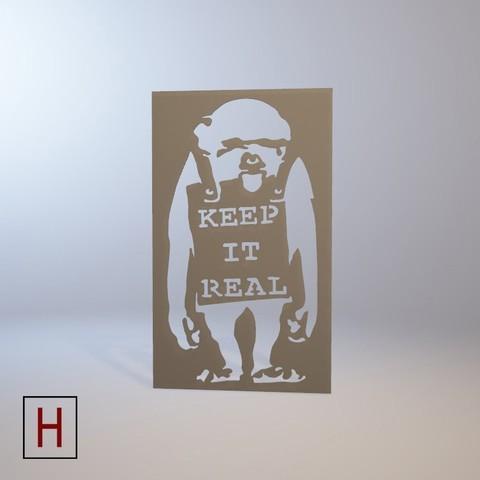 3D printer file Stencil - Banksy - Keep it real, HorizonLab