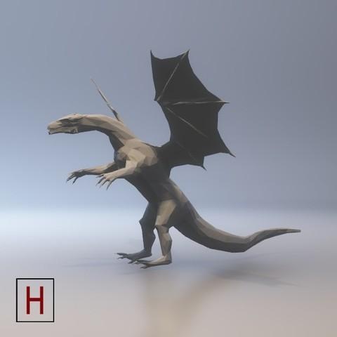 Download 3D printing models Dragon - low poly, HorizonLab