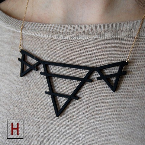 3d printer files Necklace - Deltas with a middle line, HorizonLab