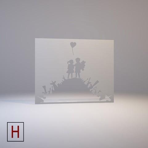 3d printer model Stencil – Banksy – Kids on guns hill, HorizonLab