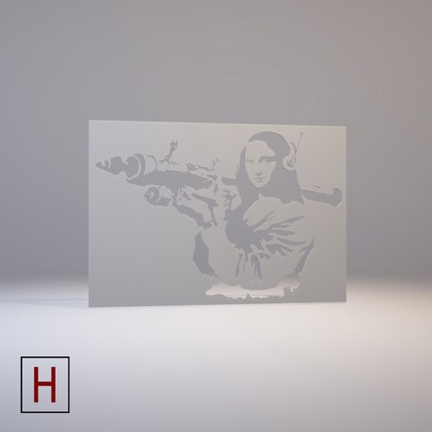3d printer model Stencil - Banksy - Mona Liza with bazooka rocket, HorizonLab