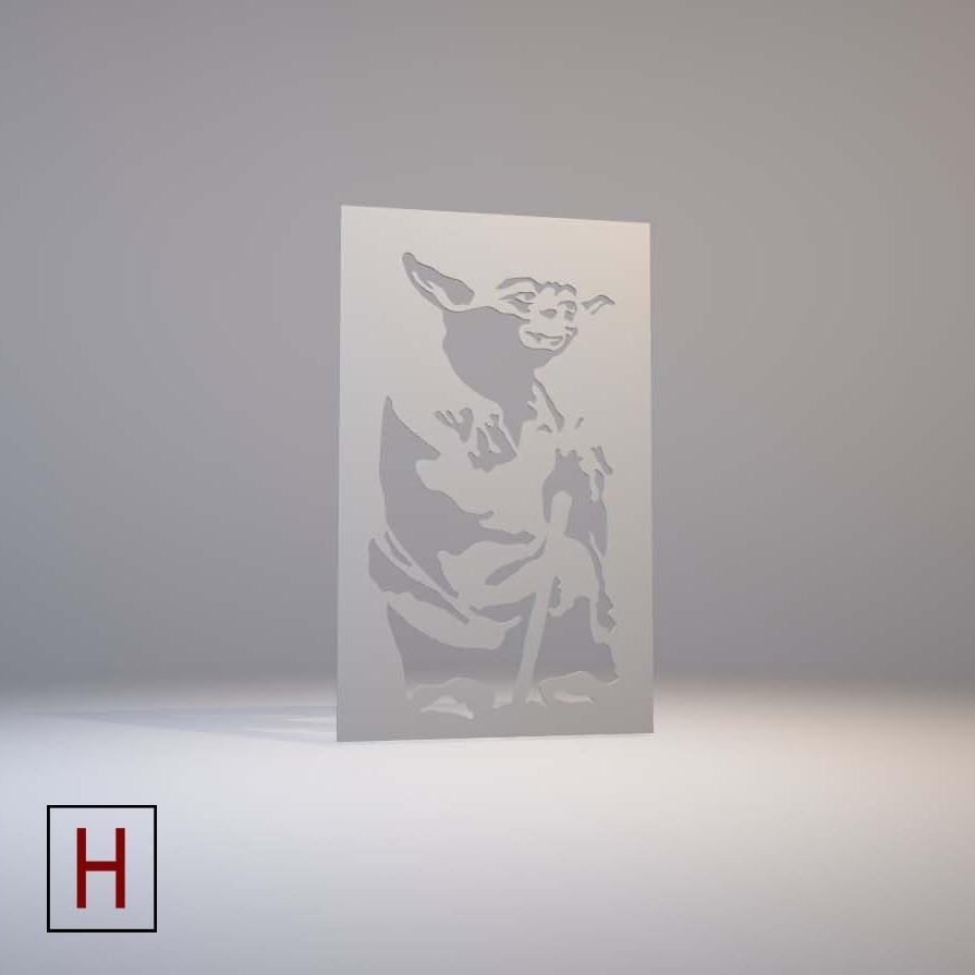 Cults - Star Wars - Stencil - Yoda logo.jpg Download STL file Star Wars - Stencil - Yoda • 3D printing template, Made_In_Space