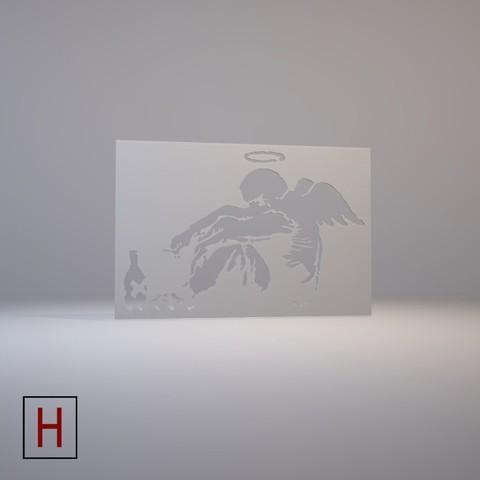Stencil – Banksy – Drunken Angel 3D model, HorizonLab